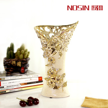 Fashion gold plated fashion ceramic vase modern fashion flower ceramic vase at home decoration