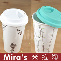 Double layer cup coffee cup ceramic cup lovers cup mug birdbrains