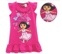 2013 new  arrive Freeshipping Brand cute design color pink  Girls dora Dress, children dresses 100% cotton good quality dress