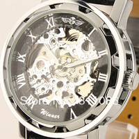 Free Shipping!Winner brand Mens Black Skeleton Hand Wind Mechanical  Watch Wrist Watch hours Black Leather Strap Drop ShipW1-1