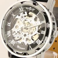Free Shipping!Winner brand Mens Black Skeleton Hand Wind Mechanical  Watch Wrist Watch hours Black Leather Strap Drop ShipW1-1