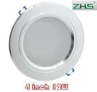 wolesale 4 inch 12W LED downlight lamp input Frosted Glass Antifog Bathroom Recessed Ceiling Down Light lamps 85V-265V 50pcs/lot