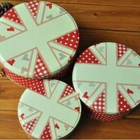 zakka Union Jack Round Snack Candy Cookie Jar Tin Box Food Sundries Iron Storage Box Home Decoration Gift 3pcs/set