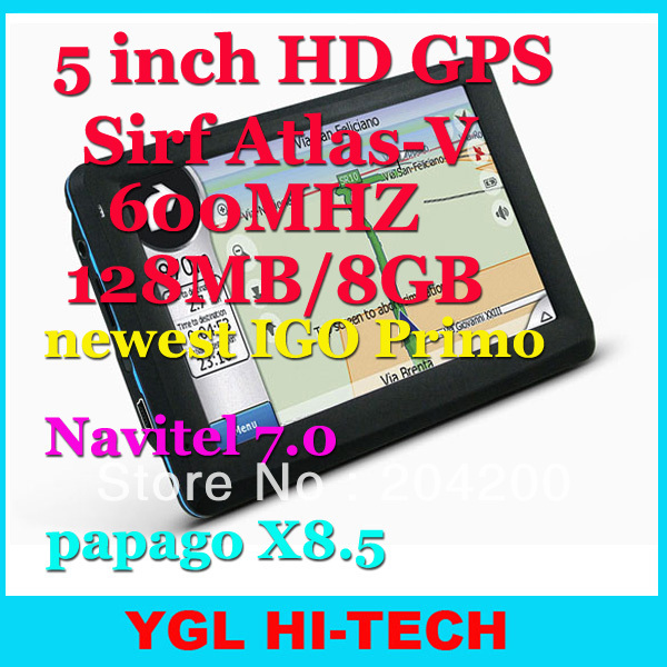 5 Inch HD800*480 GPS Navigation Sirf Atlas-V+SD-RAM128MB Flash 8GB+Newest IGO Primo 3D Navitel7.0 for Russia,Ukraine,Belarus(China (Mainland))