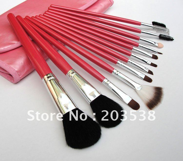 Free Shipping 12 PCS Professional Makeup Brush Set + Pink Leather Case Make Up Brush(China (Mainland))