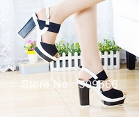 Free Shipping! ! !Summer new high with thick with fish mouth slope with the shoes simple sandals