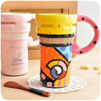 5pcs- free shipping Hearts . colored drawing cartoon ceramic cup large capacity mug with lid with handle lovers cup