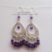 Natural purple chalcedony silver earrings fashion earring women's 925 yingou 4mm