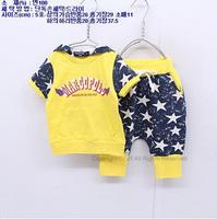 Summer child sweatshirt cartoon sweatshirt set short-sleeve set