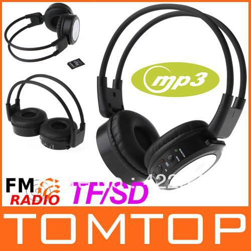 Line-in Sport Stero Headphone Headset Earphone FM Radio SD/TF MP3 Player Music Player Headphones Free Shipping wholesale(China (Mainland))