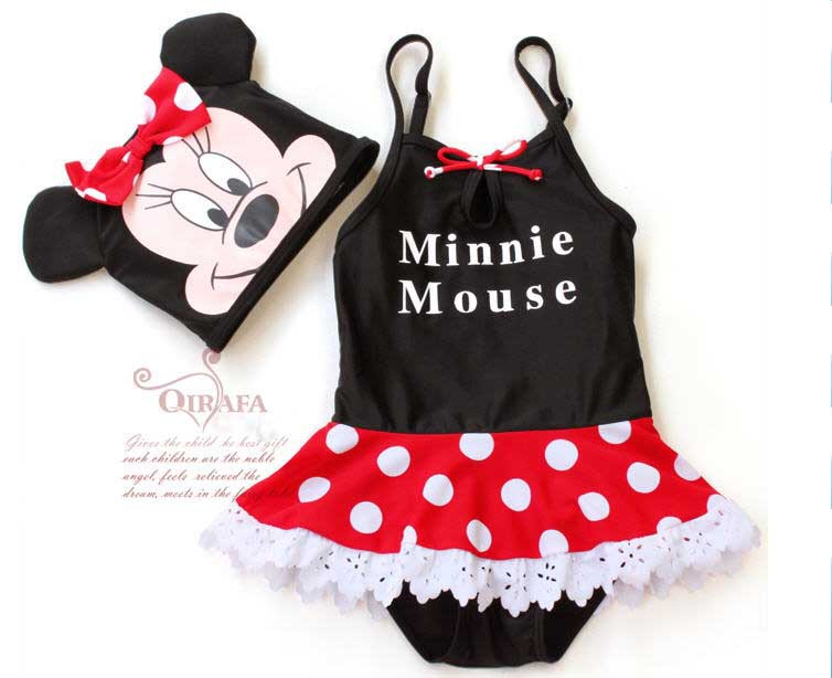 NN-103,2013 Factory outlet baby swim suit mickey girl polka dot swimwear+hat 2 pcs summer kid beachwear wholesale and retail(China (Mainland))