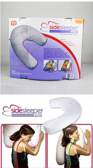 2013 Free shipping Fashion Type umbrella to relieve neck pillow side sleeper massage white pillow with good quality WH-024(China (Mainland))