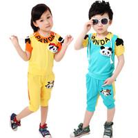 2013 children's summer child clothing male female child short-sleeve set cartoon sports set