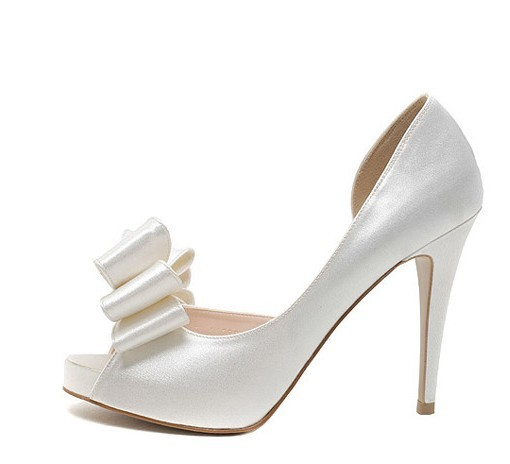 Silver bow high-heeled wedding bridal shoes women&#39;s shoes banquet evening dress sandals small yards plus size shoes customize(China (Mainland))