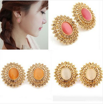 Good Sell,Factory Price Sale Fashion Jewelry Women Flower Shape Romantic Noble Cat Eye Crystal Stud Earrings[E338A-E338C M*3](China (Mainland))
