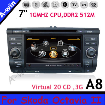 device player For Skoda Octavia II DDR2 512M Virtual 20 CD car dvd audio 1GMHZ CPU, gps radio unit