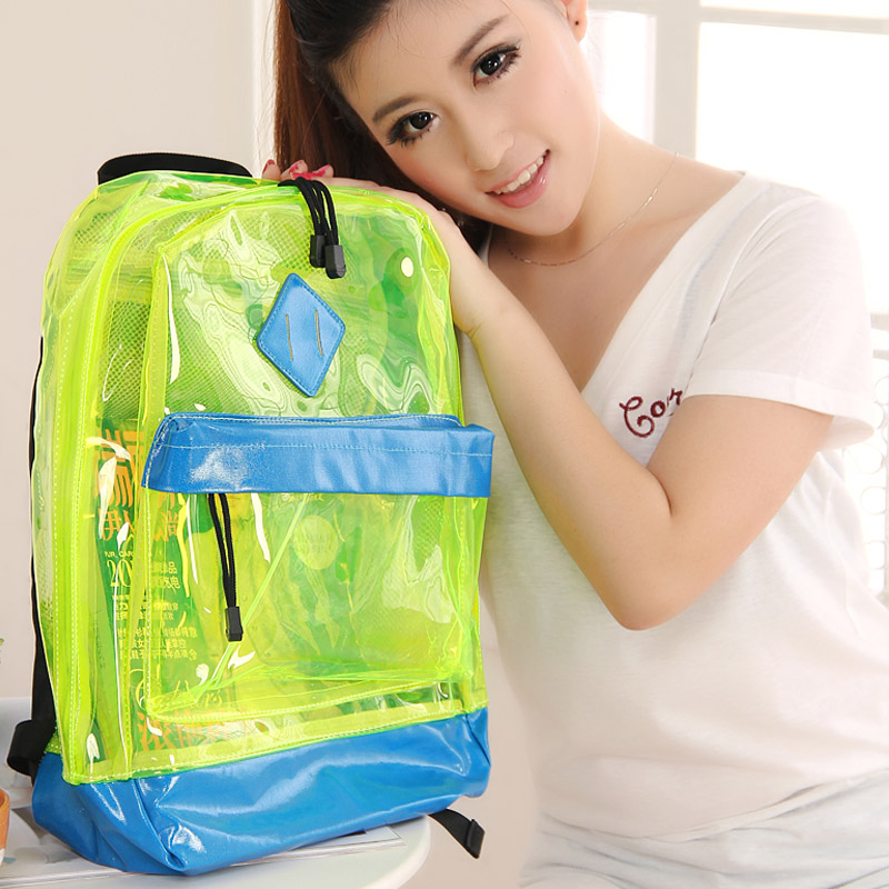 Fresh transparent bag color block jelly candy bag trend backpack casual bag backpack school bag(China (Mainland))