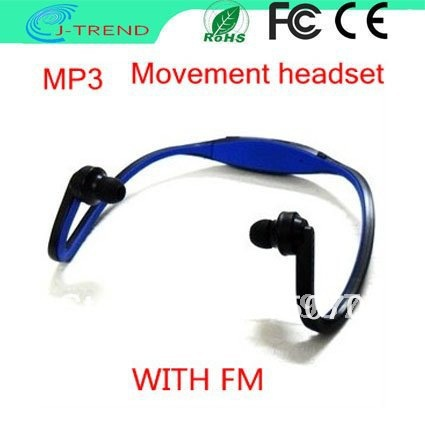 DHL Shipping New Earphone Sport MP3 WMA/WAV Music Player Wireless Headset Headphones Support Micro SD/TF Card+ FM Radio(China (Mainland))