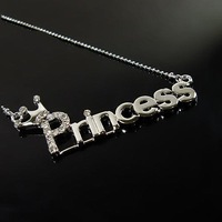 hot sale rhinestone princess letter Necklace Women Jewelry wholesale sweater chain NC208!BeaUTY and FaShion Store