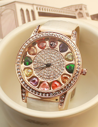 Rhinestone watch colorful diamond bordered rhinestone fashion trend(China (Mainland))