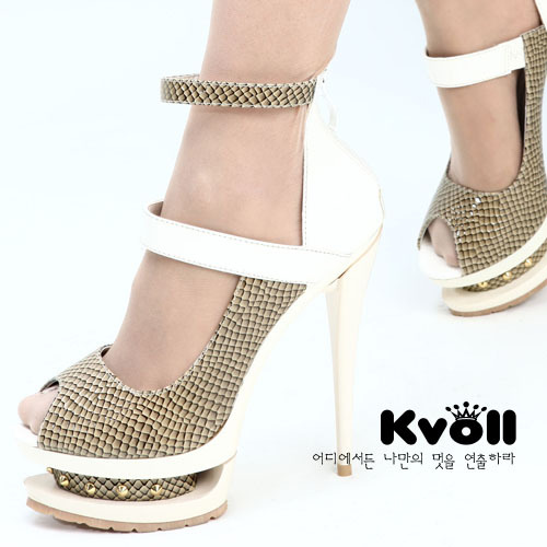 New arrival Kvoll serpentine pattern PU wristband rivet high-heeled platform shoes sexy ultra high heels single shoes female(China (Mainland))