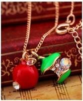 6pcs/lot 2014 hot Fashion Jewelry ,Red Green Apple Pendant Necklace,Rhinestone Fashion Chain A0062