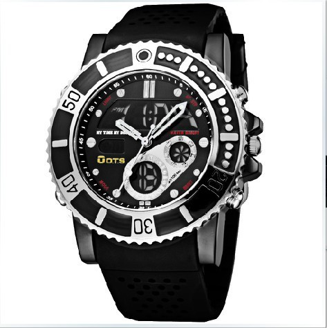 Original Brand Multifunction Mens Black Digital Quartz Analog Watch Alarm Rubber Sport Wristwatch Dive Water Resistant(China (Mainland))