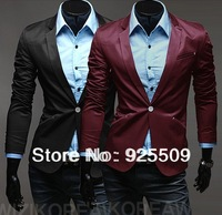 2013 Free Shipping new Autumn Personality pockets men Slim coat Korean version Men 's fashion small suit jacket red wine