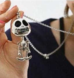 N020   Punk gothic Vintage Retro Skeleton Skull Skeleton Charm Pendant Necklace Fashion Jewelry wholesale charms female