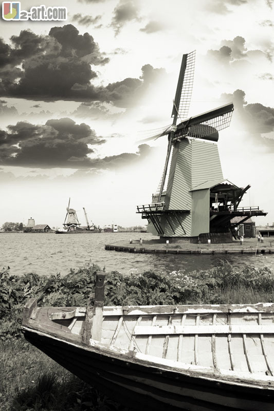 Canvas Prints (Dutch Windmill) Wholesale gift wall art picture seacapes black and white oil painting for sale Dd-6-jz-(167)(China (Mainland))
