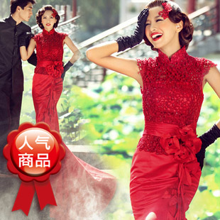 Luxury lace flower bridal Wine red fish tail train wedding dress formal dress bridal wear long design 7228(China (Mainland))