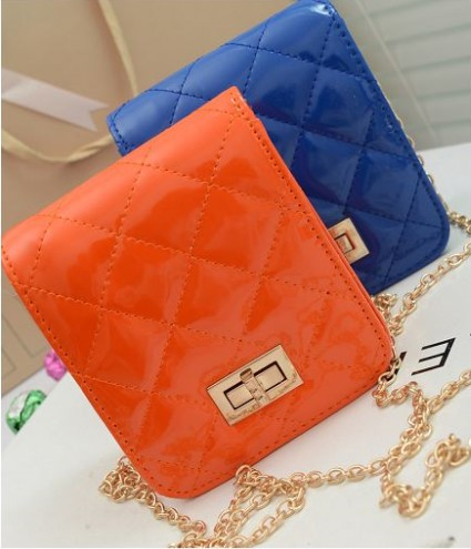 2013 women&#39;s handbag fashion plaid bright color japanned leather box package candy color small fresh messenger bag(China (Mainland))