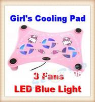 Girl's notebook cooler Cute cartoon Kitty cat  USB Laptop Cooling Fan Notebook Cooling Pad for 12'' 13'' 14'' 3- Fan Blue lights