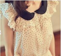 Spring and summer Women vintage cute shirt bow sleeveless peter pan collar chiffon shirt short-sleeve top