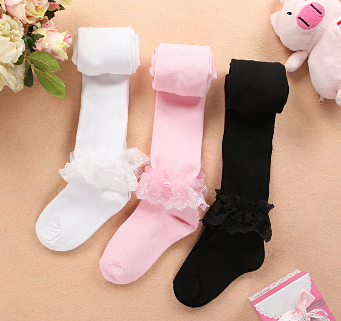 Female child spring and autumn knitted cotton lace decoration pantyhose child basic cotton stockings dance socks white powder(China (Mainland))