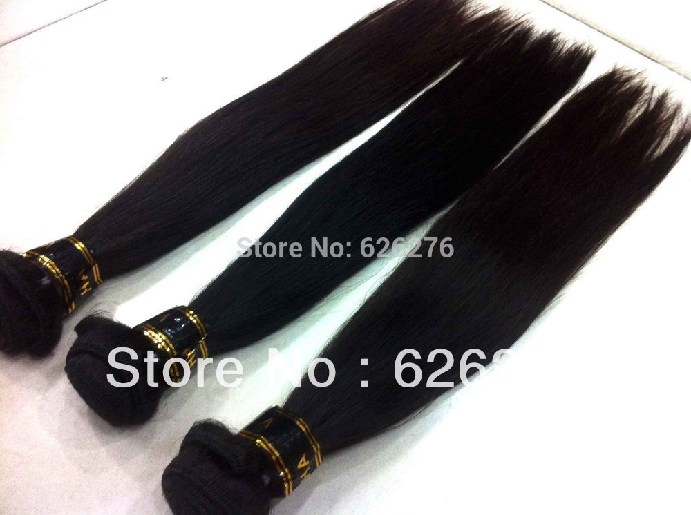 Free Shipping Cost Hair AAAAAA quality natural color Straight wave Brazilian human hair(China (Mainland))