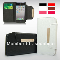 Removeable Flip Leather TPU Rubberized Case Cover Wallet For iPhone 5 5G