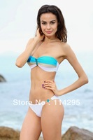 Sexy Lady/Women Swimwear Blue with White Padded Bandeau Bikini Set Halter Strapless Beach Wear S-M-L  Free Shipping