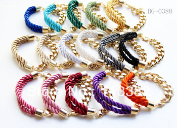 Wholesale MIX color Cord and Golden chain Bracelet 30pcs/lot -free shipping