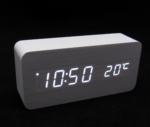 Free shipping! Creative wood acoustic control Message Board Alarm Clock fashion wood alarm clock with thermometer hot sale(China (Mainland))