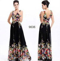 Free Shipping 2013 New Arrival Fanie Women's Floral Printed Prom Gown Ball Evening Dress