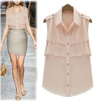 2013 fashion summer new flouncing sleeveless code chiffon women shirts free shipping WCX015