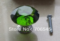30mm Diamond Shape Crystal Glass Cabinet Knob Drawer Cupboard Pull Handle Green color
