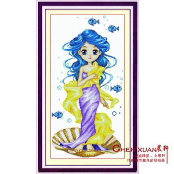 Diy diamond painting home decoration murals mermaid print cross stitch