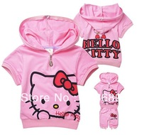 Free Shipping&5PCS/LOT!2013 2 colors summer new,the children's dresses,princess dress,hello kitty cat short sleeve clothing set