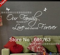 10sets/lot,  Wholesales Hot-Selling European & American Our Family Quote Wall Stickers/Decor Decal/Vinyl Stickers