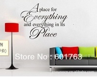 removable A Place for everything and everything in its place Wall stickers Wall deco for kid's room 10pcs/set Freeshipping