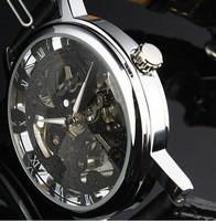 Elegant Black Lady Women Manual Skeleton Mechanical Wrist Watch Free Ship