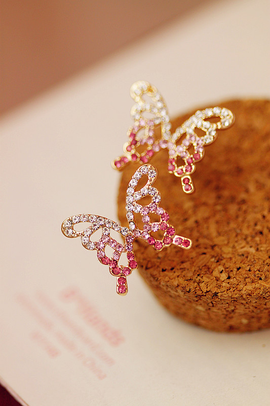 SS* Accessories stud earring cutout butterfly crystal diamond earrings accessories aesthetic elegant *free shipping(China (Mainland))