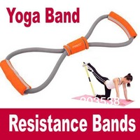 Free Shipping+Drop shipping Exercise Expanders Yoga Resistance Tubes Resistance Bands Fitness Exercise Tube Rope Set 8 Shape